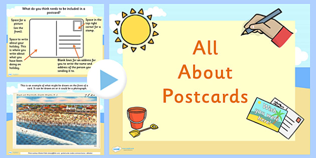 Eyfs all about postcards powerpoint post discussion prompts for Read write think postcard template