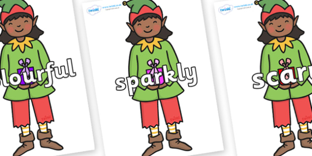Wow Words on Green Elf (Girl) - Wow words, adjectives, VCOP, describing, Wow, display, poster, wow display, tasty, scary, ugly, beautiful, colourful sharp, bouncy