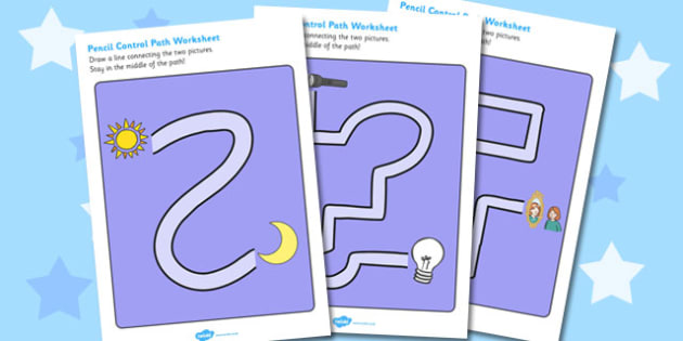 Light and Dark Pencil Control Path Worksheets - light, dark