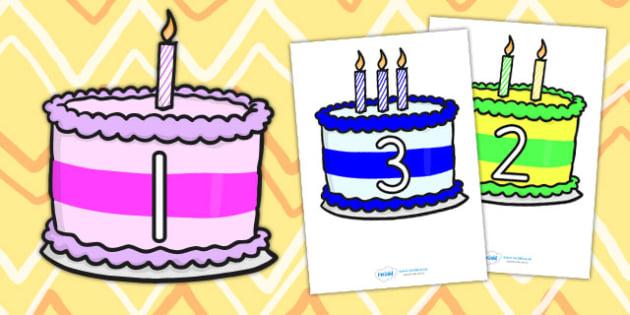 Numbers 0 10 on Birthday Cakes - numbers, display, birthday