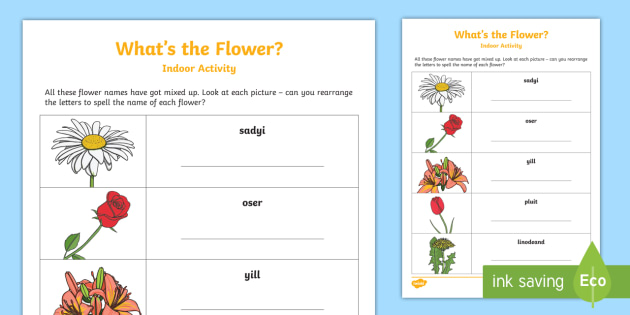 Black and white flower anagrams activity sheet flower anagrams worksheet activity sheet garden summer holidays family parents mightylinksfo