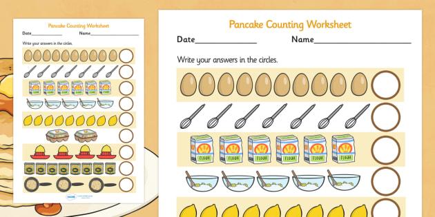 Pancake Counting Sheet - pancake, counting, maths, numeracy