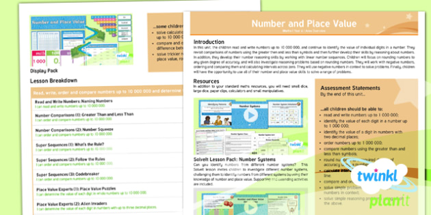 PlanIt Maths Y6 Number and Place Value Overview