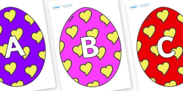 A-Z Alphabet on Easter Eggs (Hearts) - A-Z, A4, display, Alphabet frieze, Display letters, Letter posters, A-Z letters, Alphabet flashcards