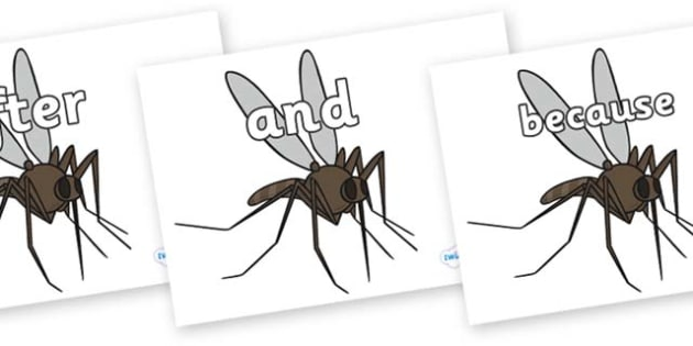 Connectives on Mosquitos - Connectives, VCOP, connective resources, connectives display words, connective displays