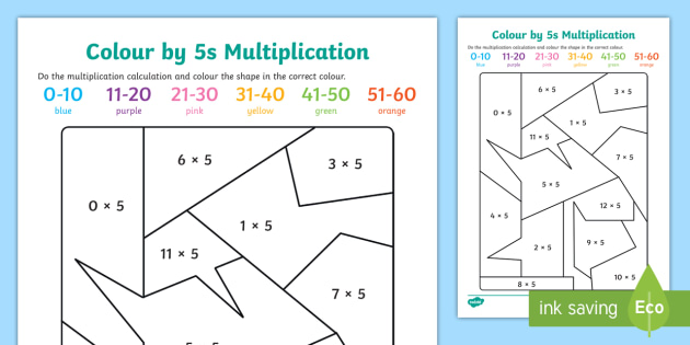 Colour by 5s Multiplication - times tables, colouring, multiply