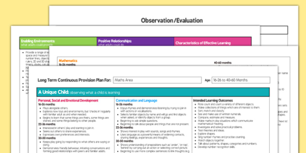 Maths Area Editable Continuous Provision Plan 16-26 to 40-60 Months