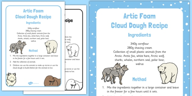 Arctic Foam Cloud Dough Recipe - winter, arctic, Antarctic, polar, foam, cloud, dough, recipe