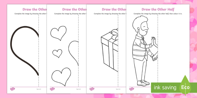Valentine\'s Day Draw the Other Half Worksheet / Activity Sheet