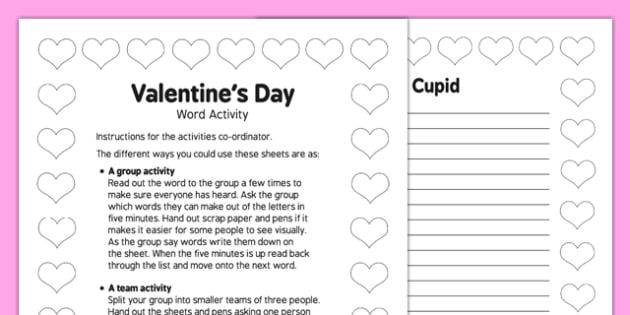 Elderly Care Valentine's Day Word Game - Elderly, Reminiscence, Care Homes, Valentine's Day