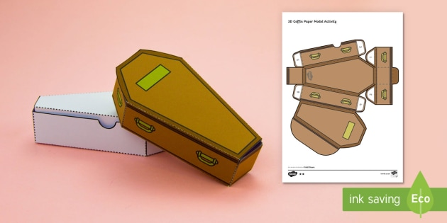 Simple 3D Halloween Coffin Gift Box Activity Paper Craft