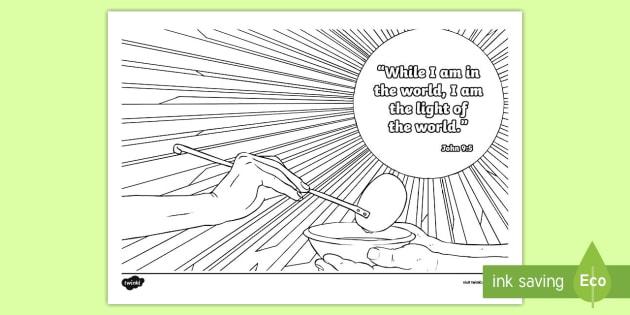 John 9 Verse 5 Mindfulness Coloring Page