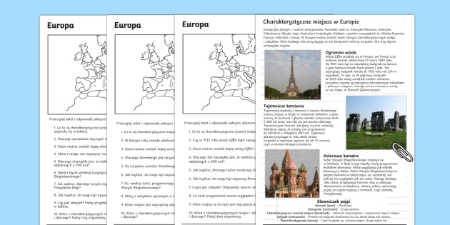 Czytanie ze zrozumieniem Słynne miejsca w Europie Polish-Polish - rozumienie, tekst, czytanie, pisanie, pisanego, tekstu, pytania, sprawdzian, Europa, zabytki, wieża