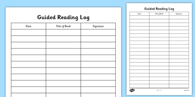 Guided Reading Log Guided Reading Reading Log Reading Log Book