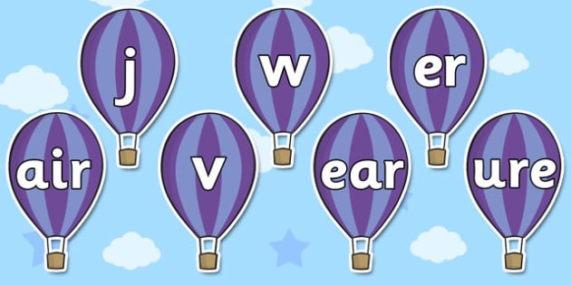 Phase 3 Phonemes on Hot Air Balloons - phase 3, phonemes, balloon
