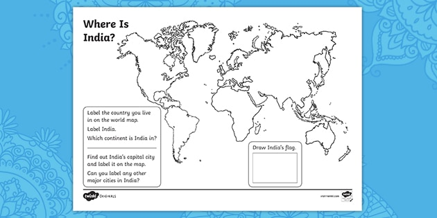Ks1 Where Is India Geography Worksheet Teacher Made Santa claus lives at the north pole. ks1 where is india geography worksheet
