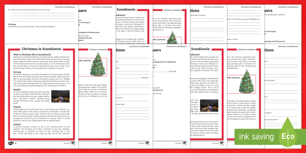 Christmas Around the World: Scandinavia Differentiated Reading Comprehension Activity-Australia - Christmas, Christmas around the world, Scandinavian Christmas, Scandinavia, Finland, Denmark, Icelan