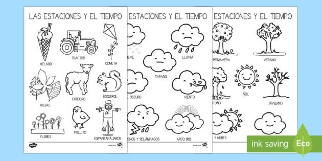 Hoja de colorear -  Las estaciones del año - El tiempo y las estaciones del año, proyecto, pintar, colores, vocabulario, Spanish