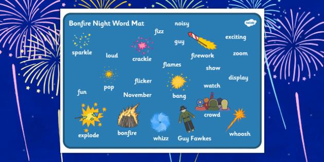 Bonfire Word Mat - Word mat, Bonfire, Fireworks Night, Guy, Autumn, A4, display, firework, bang, crackle, woosh, rocket, sparkler, catherine wheel, screech, whirl, fire, bonfire, leaves, gloves