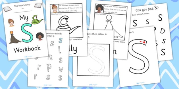 My Workbook S uppercase - workbook, S sound, uppercase, letters, alphabet, activity, handwriting, writing