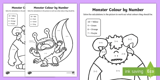 monsters colour by number addition up to 10 worksheets. Black Bedroom Furniture Sets. Home Design Ideas
