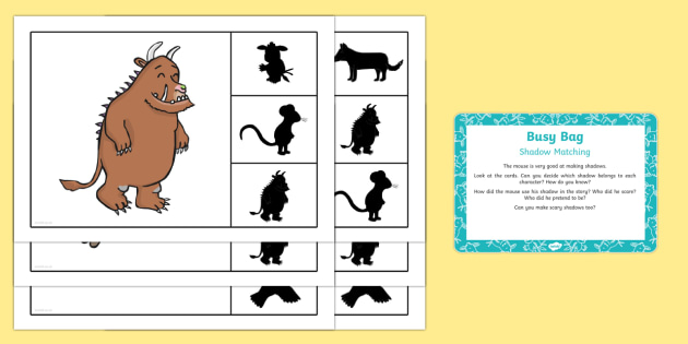 Shadow Matching Busy Bag Prompt Card and Resource Pack