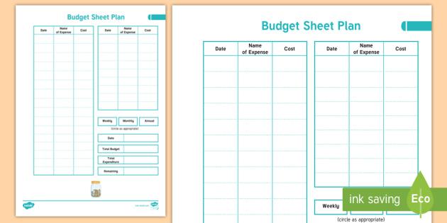 Home Educator Budget Sheet Plan Teacher Made
