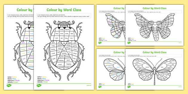 Colour by Word Class Activity Sheet, worksheet