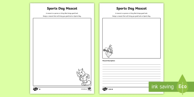 design a sports day mascot worksheet activity sheet sport 39 s. Black Bedroom Furniture Sets. Home Design Ideas