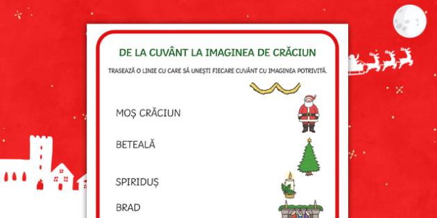 Sărbătoarea Crăciunului -  Fișă de punere în corespondență cuvânt - craciun, română, materiale, punere în corespondență, corespondenta, cuvânt-imagine, cuvant-ima