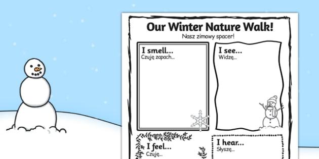 Our Winter Nature Walk Writing Frame Polish Translation - polish, our, winter, nature walk, writing frame