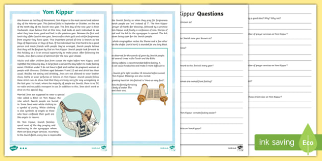 Yom Kippur Differentiated Reading Comprehension Activity