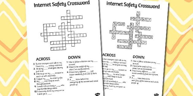 Internet Safety Crossword - internet, safety, crossword, words