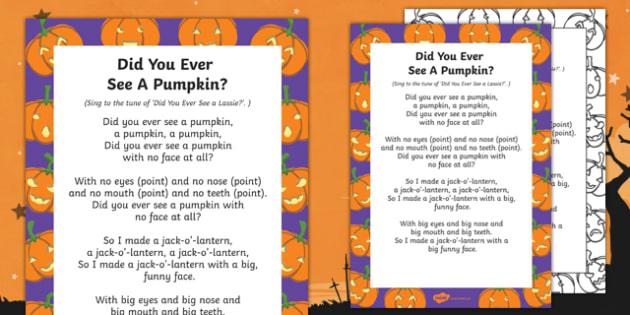 Did You Ever See a Pumpkin? Rhyme - EYFS, Halloween, pumpkin, poem
