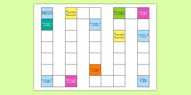 Plantilla de juego de mesa en blanco - repasar, vocabulario, jugar, turnos