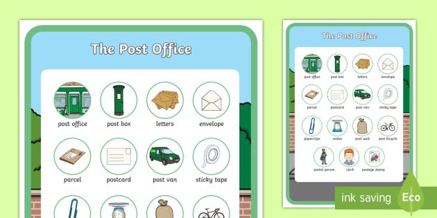 The Post Office Aistear Vocabulary Poster Junior Infants Senior