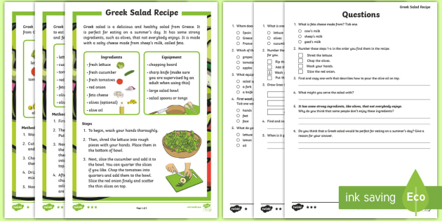 new ks1 greek salad healthy recipe differentiated reading comprehension activity instructions steps