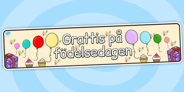 Swedish Happy Birthday Display Banner - swedish, display, banner