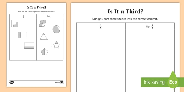 Is It A Third Worksheet Activity Sheet Year 1 Fractions