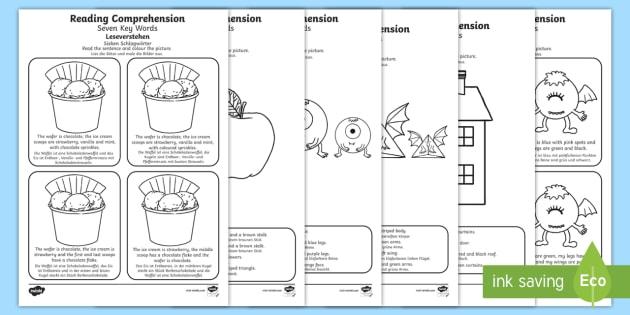 reading comprehension seven key words worksheet worksheets english german. Black Bedroom Furniture Sets. Home Design Ideas