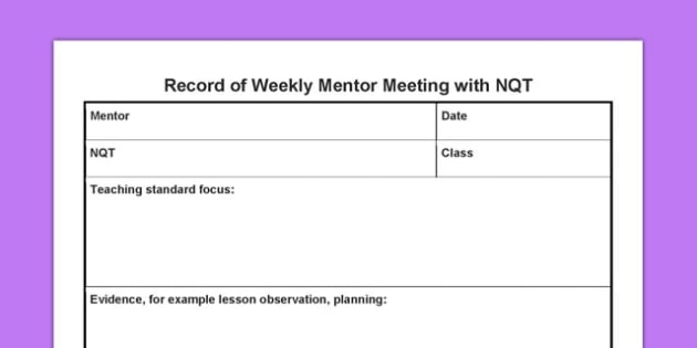 Record Of Weekly Mentor Meeting With Nqt Record Weekly