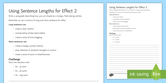 using sentence lengths for effect 2 worksheet activity sheet. Black Bedroom Furniture Sets. Home Design Ideas