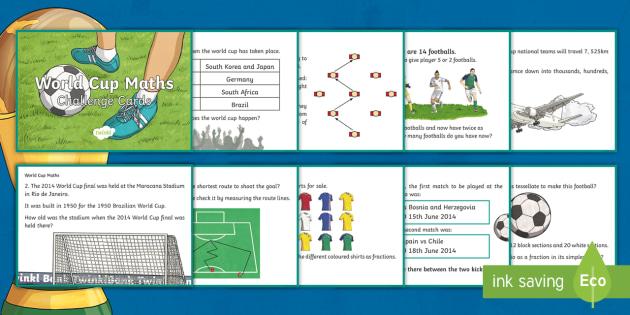 The World Cup Maths Challenge Cards KS2 - challenge, cards, ks2