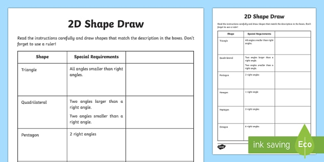 Drawing Lines Using A Ruler Ks1 : D shape draw worksheet activity sheet learning from home