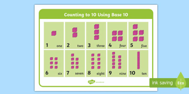 Counting to 10 with Base Ten Display Mat - counting to 10, counting, count, base 10, display mat, display, mat