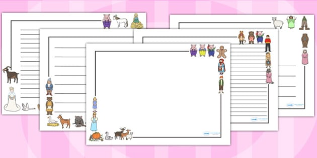 Traditional Tales Page Borders (Landscape) - page border, border, frame, writing frame, traditional tales, tales, traditional storys, landscape traditional tales, writing template, writing aid, writing, A4 page, page edge, writing activities, lined p