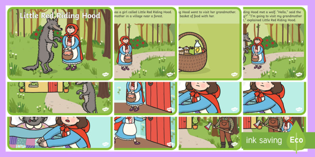 photo about Little Red Riding Hood Story Printable named Very little Pink Driving Hood Tale - Very little Purple Using Hood