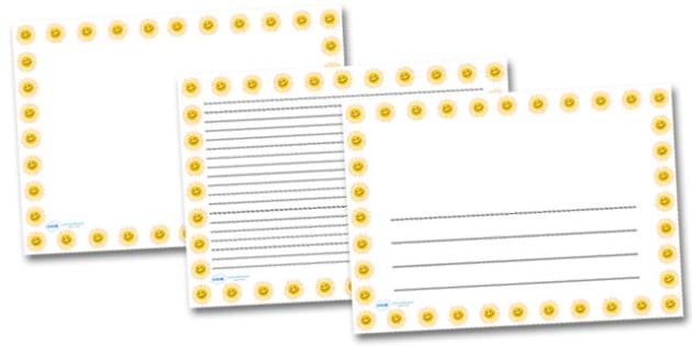 Smiley Sun Landscape Page Borders- Landscape Page Borders - Page border, border, writing template, writing aid, writing frame, a4 border, template, templates, landscape