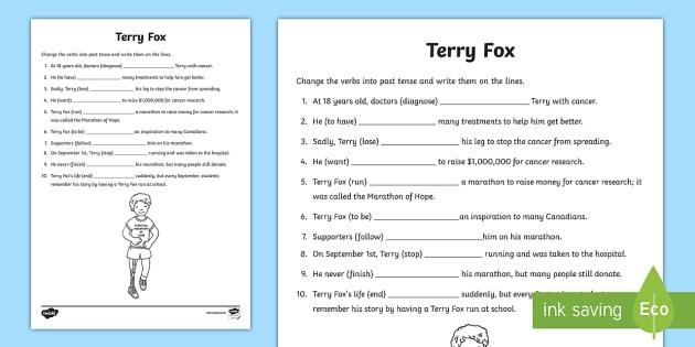 Terry Fox Past Tense Activity Sheet - Terry Fox, run, marathon, hope, marathon of hope, past, past tense, verb, verbs, verb practice