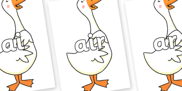 Phase 3 Phonemes on Hullabaloo Goose to Support Teaching on Farmyard Hullabaloo - Phonemes, phoneme, Phase 3, Phase three, Foundation, Literacy, Letters and Sounds, DfES, display